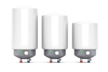 Three Modern Automatic Water Heaters on a white background