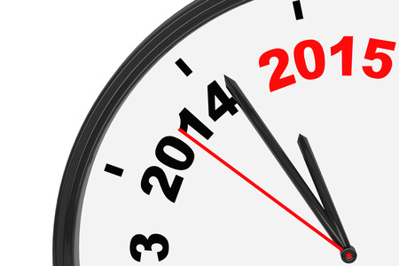anticipating: The year 2015 is approaching. 2015 sign with a clock on a white background