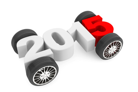2015 concept with car wheels on a white background Archivio Fotografico