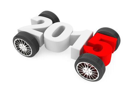 2015 concept with car wheels on a white background photo