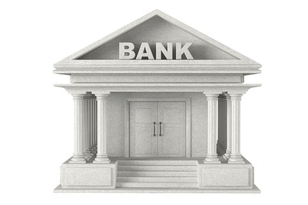 3d concrete Bank Building on a white background photo