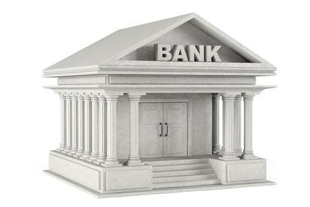 3d beton Bank Building op een witte achtergrond