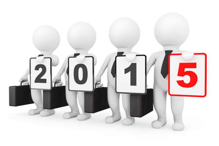 3d Businessmans with New 2015 year sign on a white background photo
