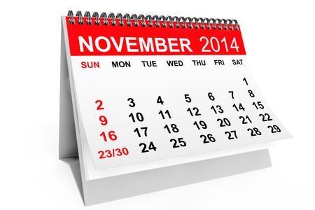 2014 year calendar. November calendar on a white background photo