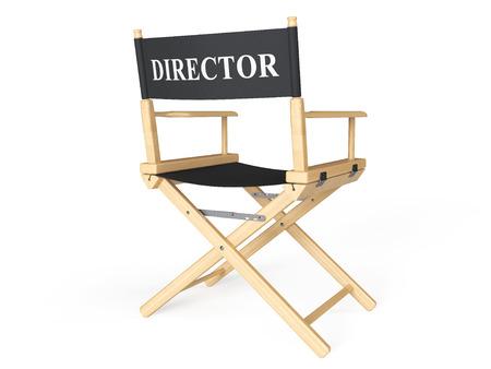 映画業界のコンセプトです。白い背景の上の取締役の椅子 写真素材