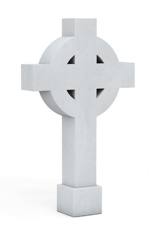 Blank Memorial Gravestone Cross on a white background photo