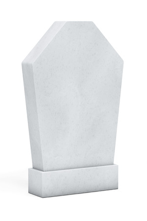 Blank Memorial Gravestone on a white background photo