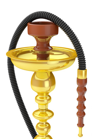 inhalation: Eastern Glass Hookah on a white background Stock Photo