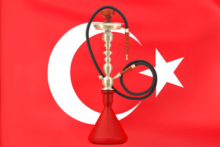 inhalation: Eastern Glass Hookah with Turkish Flag on a white background