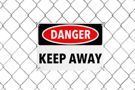 stay alert: Keep Away Sign with Wired Fence on a white background