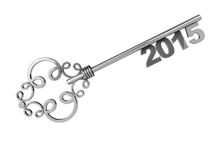Vintage Key with 2015 year Sign on a white background photo