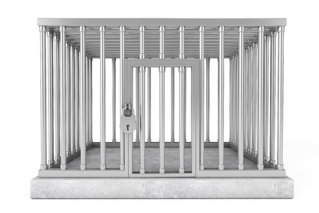 Metal Cage with Lock on a white background photo