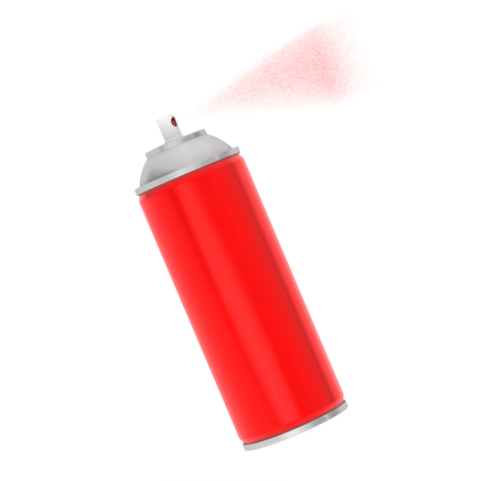 Blank Aluminum Red Spray Can on a white background