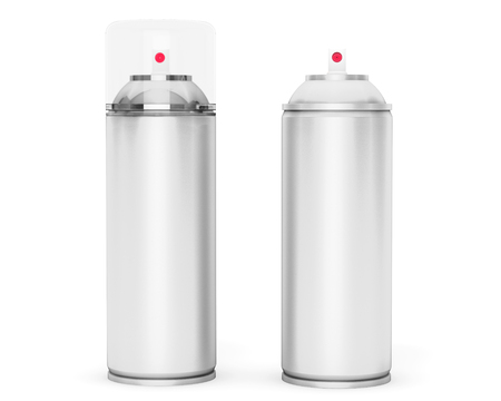 freshener: Blank Aluminum Spray Can on a white background Stock Photo