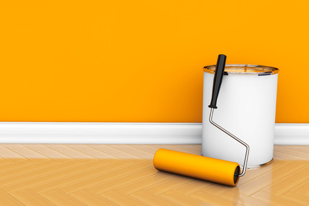 Painting of walls in a orange color. Paint can with roller brush