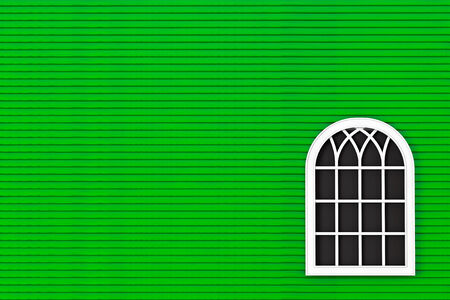Closeup Closed plastic window with green wall photo