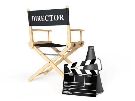 白い背景のメガホン、映画クラッパー ディレクターチェア