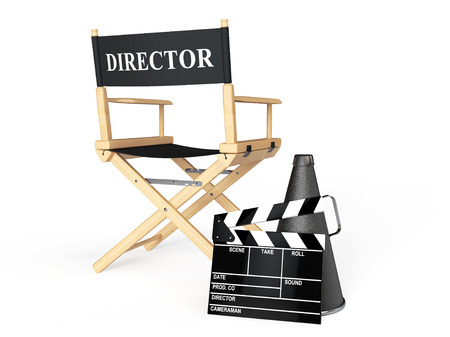 Director Chair, Movie Clapper and Megaphone on a white background