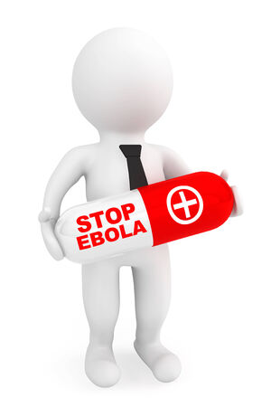 caution chemistry: 3d Person hold Pill with Stop Ebola sign on a white background