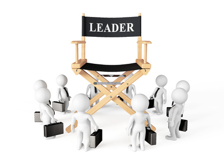 3d Businessmans Around Director Leader Chair on a white background photo