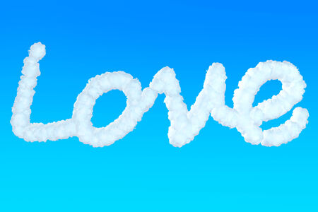 disclose: Love Sign from clouds in the blue sky Stock Photo