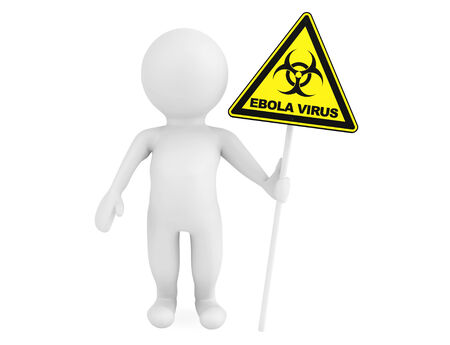 3d Person with Ebola biohazard sign on a white background photo