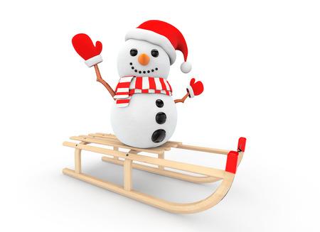 toboggan: Snowman over Wooden Sledge on a white background Stock Photo