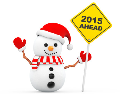 Snowman with 2015 New Year Ahead Sign on a white background photo