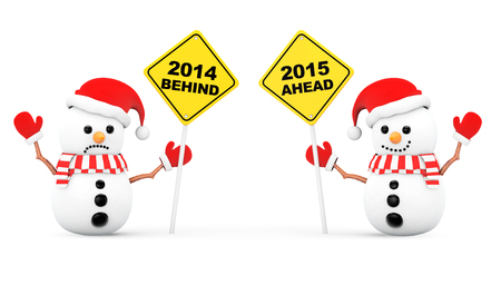 Snowmans with 2015 and 2014 Year Signs on a white background photo