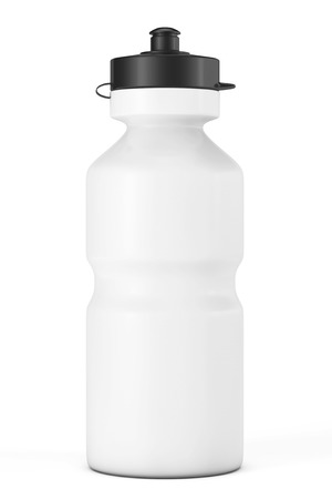 bottled water: White Sport Plastic Water Bottle on a white background