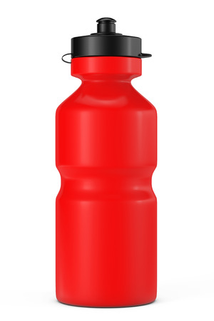 Red Sport Plastic Water Bottle on a white background Stock Photo - 34172338