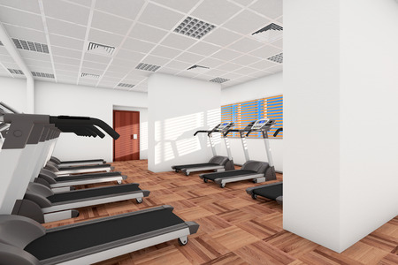 cardiovascular exercising: Sport concept. Treadmills in a row in the gym