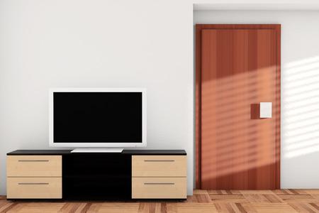 Smart TV over dresser in hotel room photo