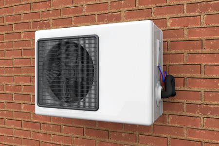 humidifier: Modern air conditioner on a brick wall background