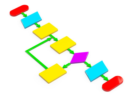 algorithm: Simple Multicolour Algorithm on a white background Stock Photo