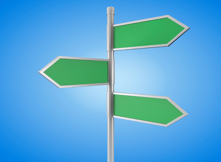 fork in the road: Green arrow road signs on a blue background Stock Photo