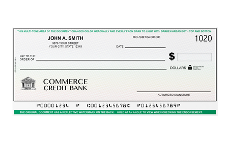 Blank Banking Check on a white background Stock Photo