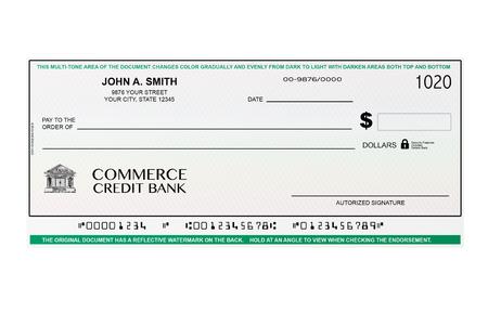 cheque en blanco: Cheque en blanco Bancaria sobre un fondo blanco Foto de archivo