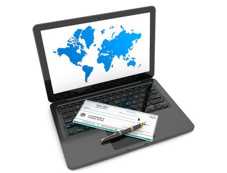 cheque en blanco: Cheque en blanco Banca y Pluma sobre el teclado de la computadora portátil sobre un fondo blanco