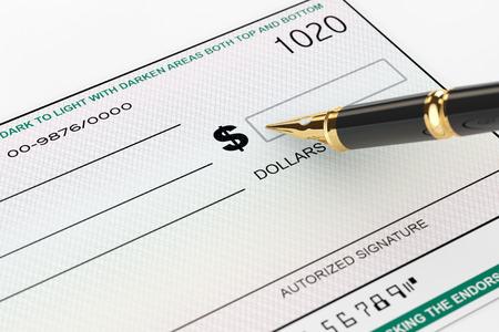cheque en blanco: Cheque en blanco Bancaria y la estilogr�fica sobre un fondo blanco