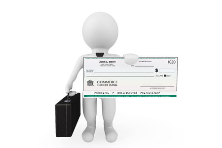 chequebook: 3d Businessman hold Banking Check on a white background