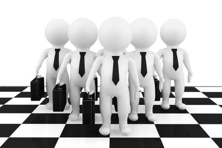 3d businessmans stand on the chessboard on a white background photo