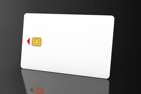 White phone card with chip on a black background photo
