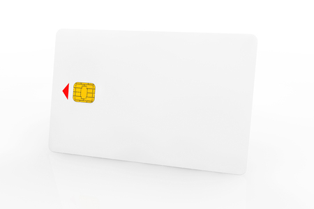 White phone card with chip on a white background photo