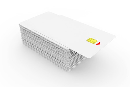 Stack of White phone cards with chip on a white background photo