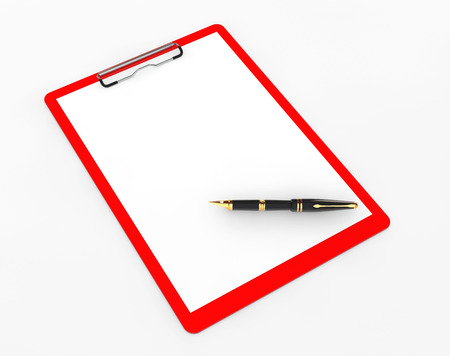 Plastic clipboard with Fountain Pen on a white background photo