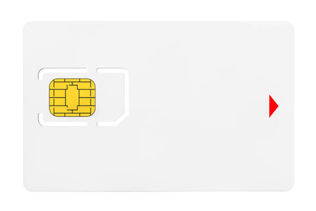 tel: Blank Sim Card with chip on a white background