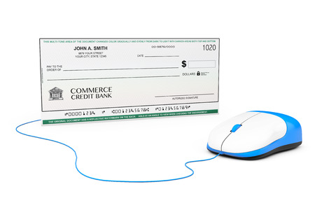 Banking Check connected to computer mouse on a white background