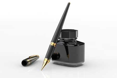 흰색 배경에 잉크 병 펜 분수