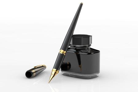 pera: Plnicí pero s inkoustem láhev na bílém pozadí